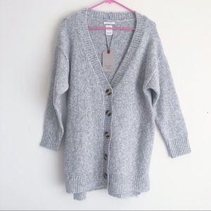 NWT Zara wool blend gray grandpa cardigan sweater